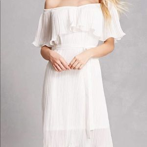 Forever 21 Ivory Pleated Off-the-Shoulder Dress